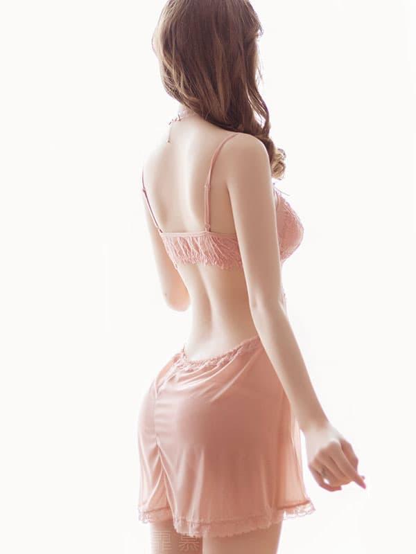 セクシー下着の通販商品:ゆったり腰回りのシースルーベビードール・ライトブラウン・イメージ写真4