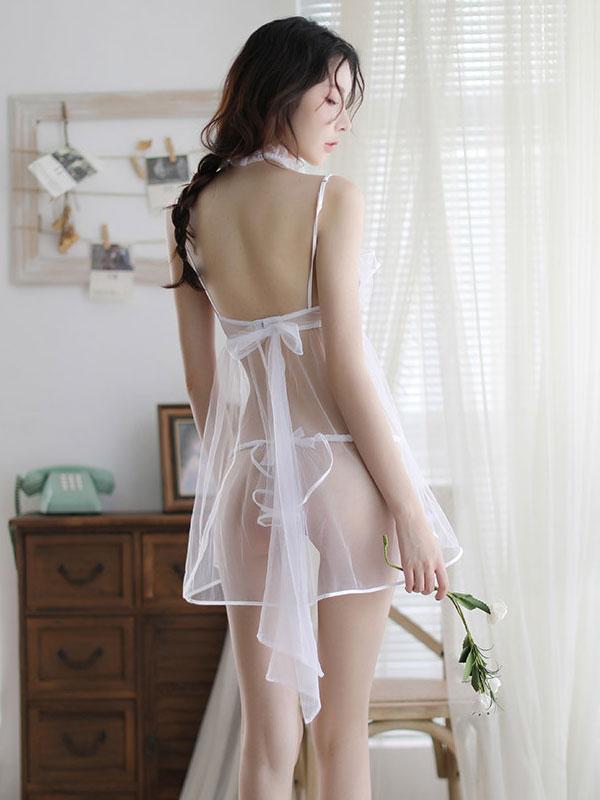 セクシー下着の通販商品:ブラ一体型・魅惑のシースルーベビードール・白・イメージ写真4