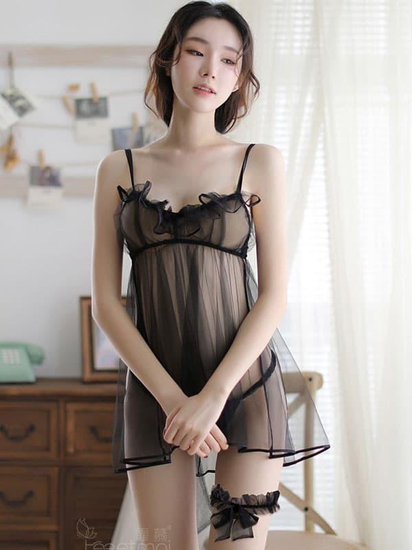 セクシー下着の通販商品:ブラ一体型・魅惑のシースルーベビードール・黒・イメージ写真2