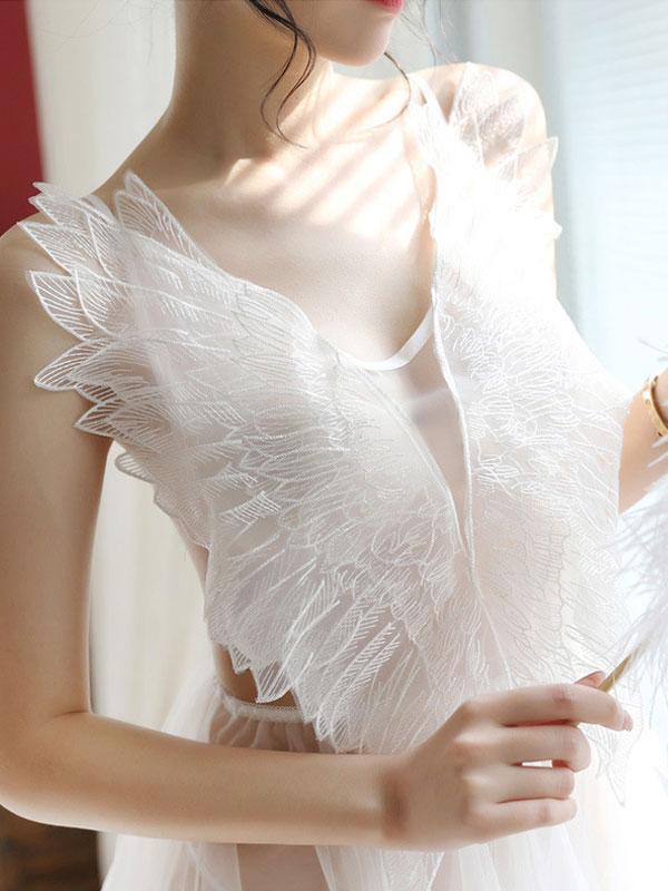 セクシー下着の通販商品:天使のベビードール・白・イメージ写真2
