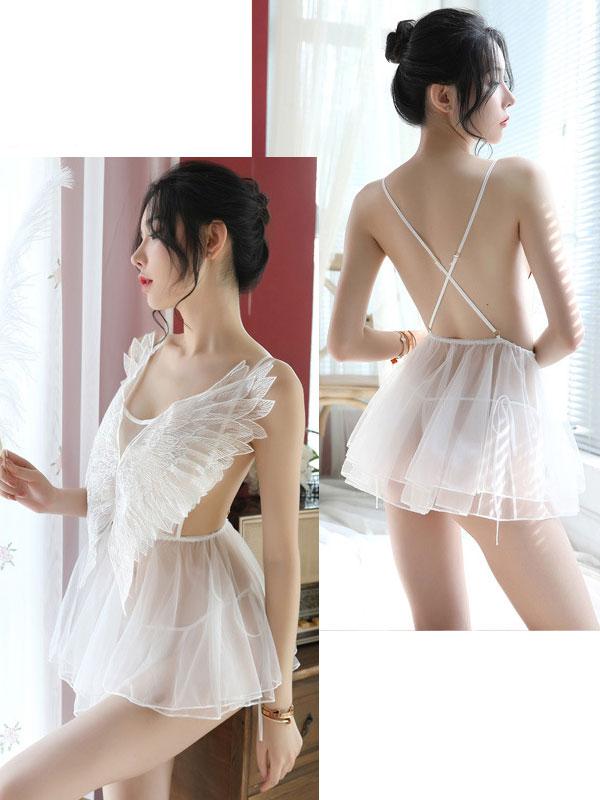 セクシー下着の通販商品:天使のベビードール・白・イメージ写真3