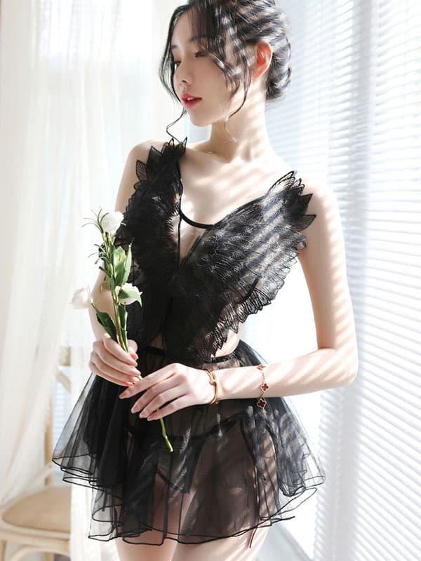 セクシー下着の通販商品:天使のベビードール・黒・イメージ写真1