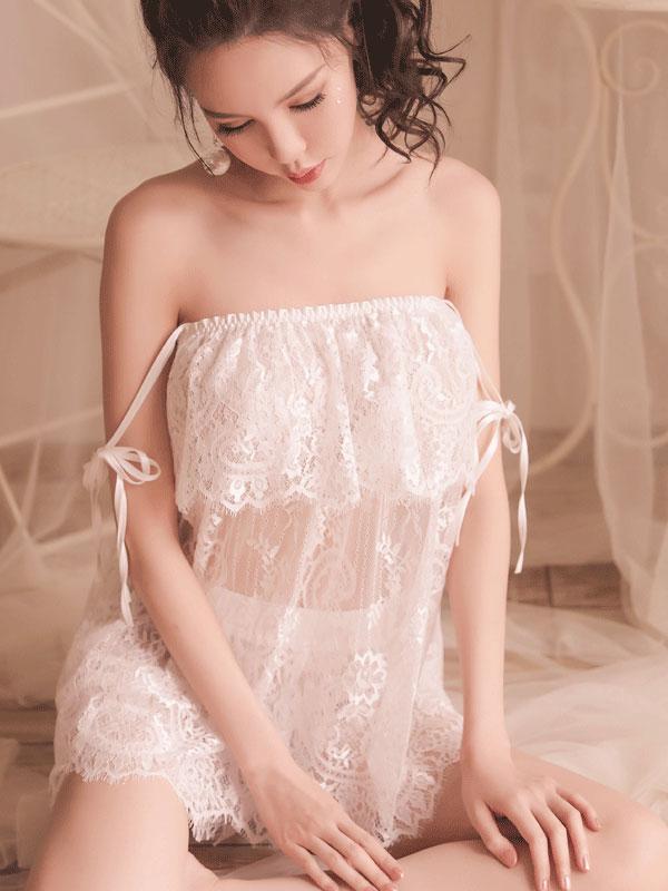 セクシー下着の通販商品:するりと脱げるレースのチューブドレス&ホットパンツセット・イメージ写真3