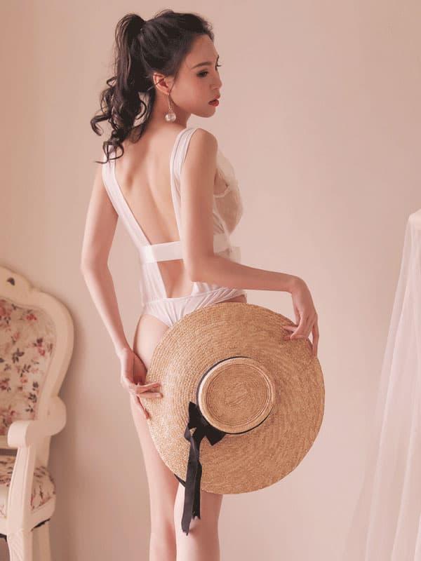 セクシー下着の通販商品:魅惑のシースルーテディ・白・イメージ写真4