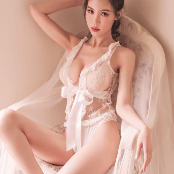 セクシー下着の通販商品:魅惑のシースルーテディ・白・イメージ写真