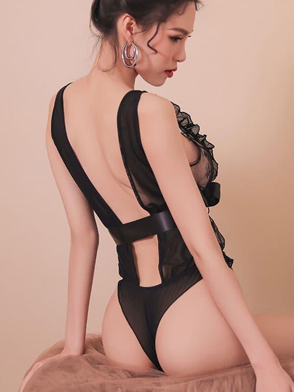 セクシー下着の通販商品:魅惑のシースルーテディ・黒・イメージ写真3