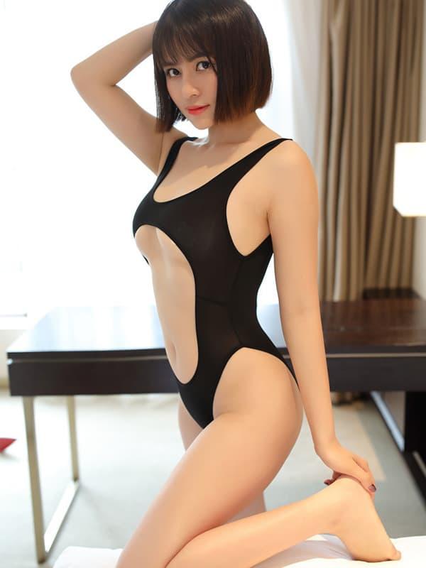 セクシー下着の通販商品:あいちゃう!はみ乳オープンハイレグ・レオタード・黒・イメージ写真2