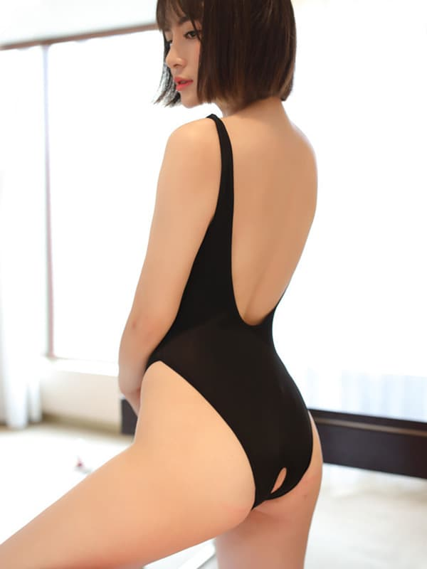 セクシー下着の通販商品:あいちゃう!はみ乳オープンハイレグ・レオタード・黒・イメージ写真3