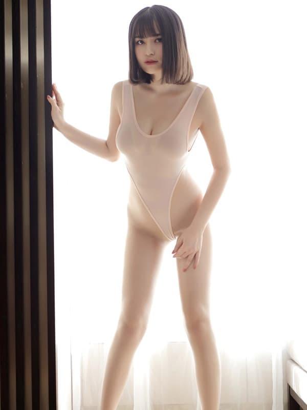 セクシー下着の通販商品:超ハイレグ・レオタード・アプリコット・イメージ写真1