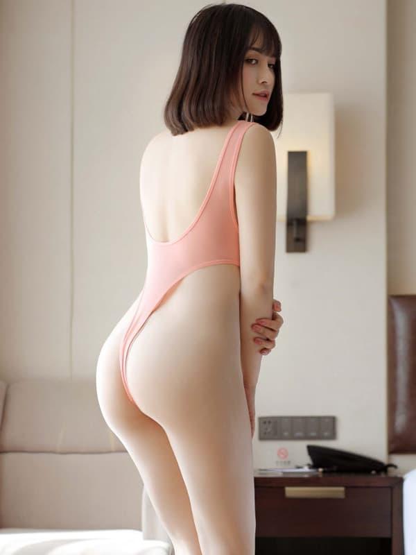 セクシー下着の通販商品:超ハイレグ・レオタード・サーモンピンク・イメージ写真3