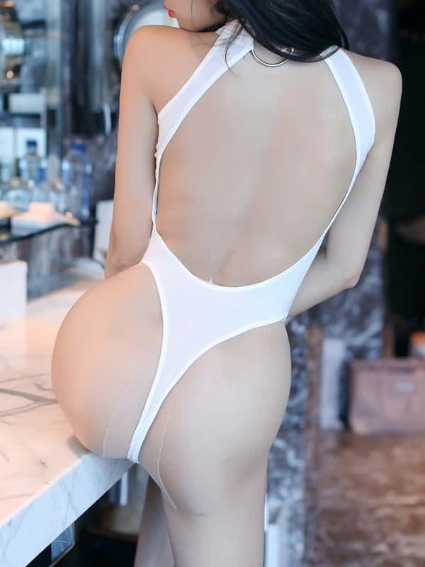 セクシー下着の通販商品:胸がはじける・オープン・ハイレグ・レオタード・白・イメージ写真4