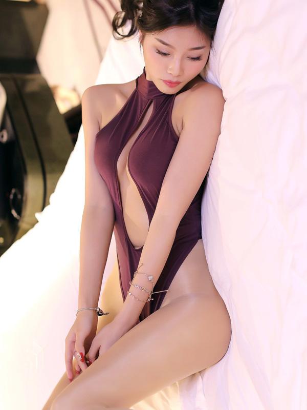 セクシー下着の通販商品:胸がはじける・オープン・ハイレグ・レオタード・紫・イメージ写真3
