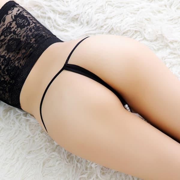 セクシー下着の通販商品:オープン・パール・Tストリングショーツ・黒・イメージ写真6