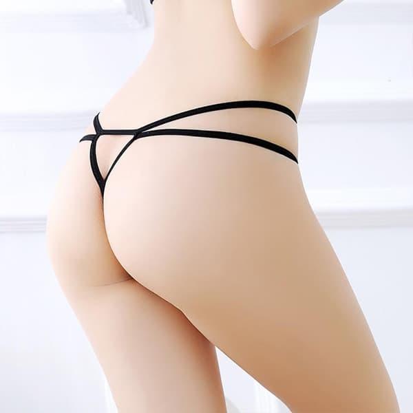 セクシー下着の通販商品:フロントパール・ダブルストリングショーツ・黒・イメージ写真4