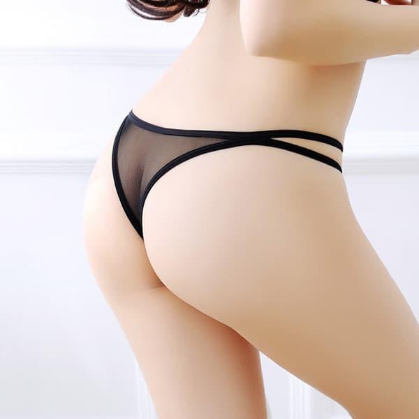 セクシー下着の通販商品:パピヨンデザイン・フロントパール・ハーフバックショーツ・黒・イメージ写真5
