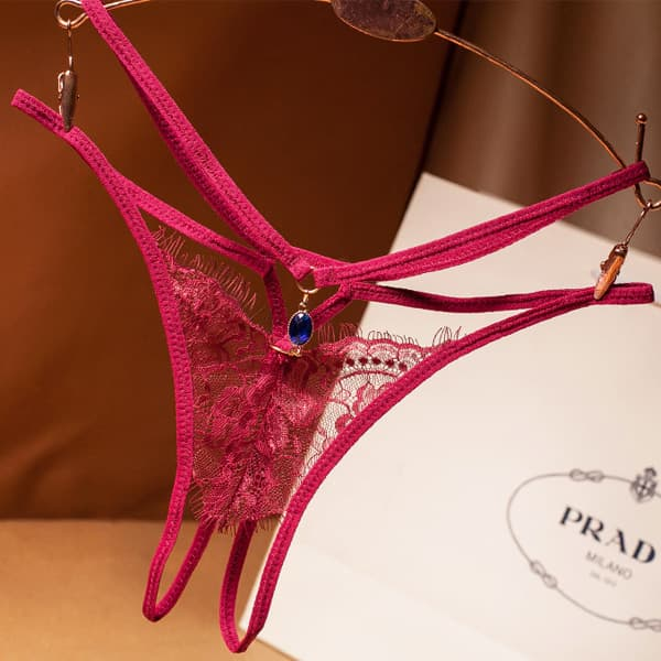 セクシー下着の通販商品:ジュエリーアクセント・ダブルストリング・オープンショーツ・ワインレッド・イメージ写真