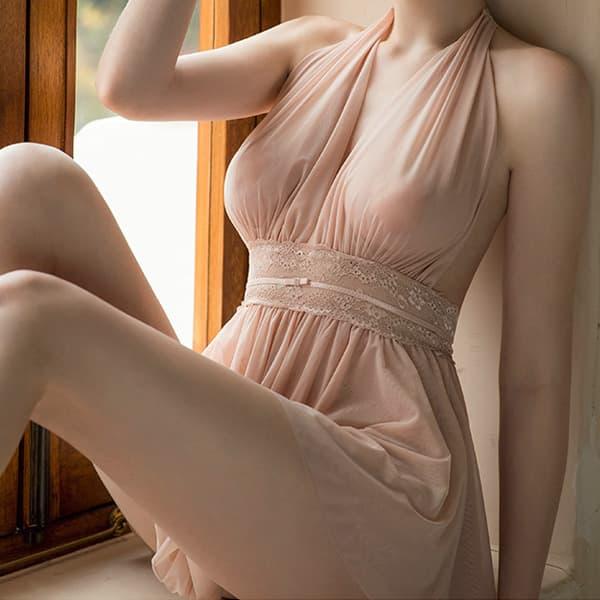 セクシー下着の通販商品:ホルターネック・Vライン・セクシーショートドレス・ライトブラウン・イメージ写真1