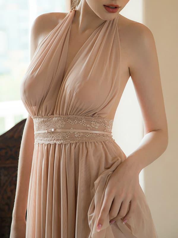 セクシー下着の通販商品:ホルターネック・Vライン・セクシーショートドレス・ライトブラウン・イメージ写真2