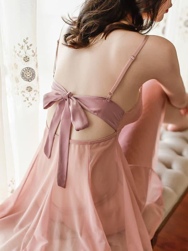 セクシー下着の通販商品:背中結びのベビードール・ライトブラウン・イメージ写真3