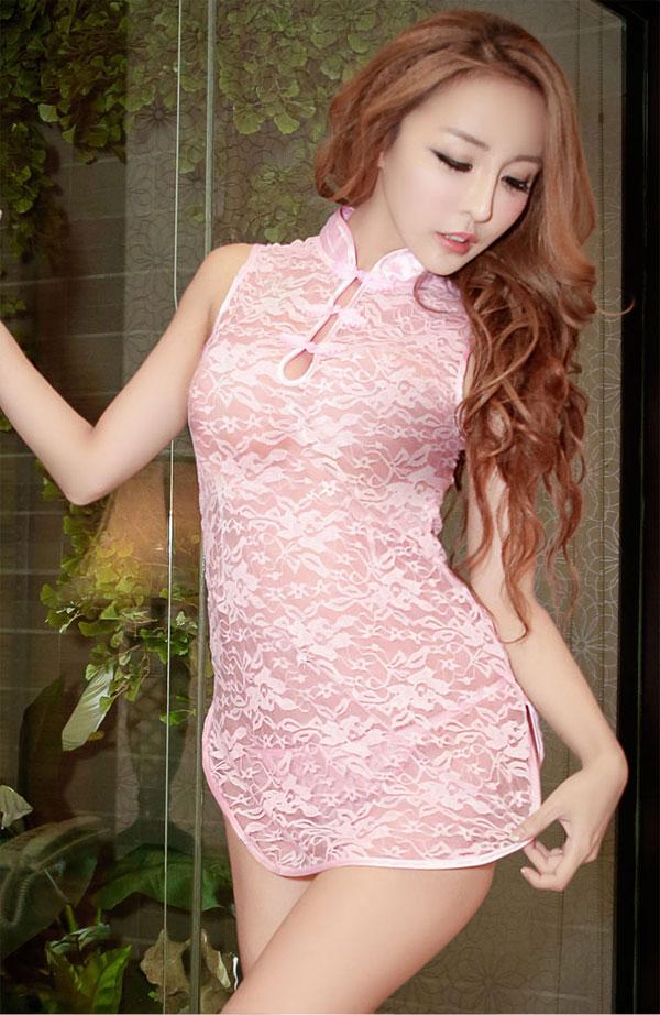 コスプレ・メイド服の通販商品:ピンクのシースルー・チャイナドレス・イメージ写真1