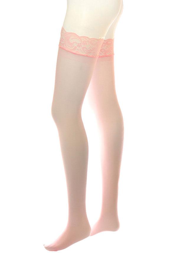 セクシー下着の通販商品:レース・ガーターベルト用ストッキング・ピンク・イメージ写真3