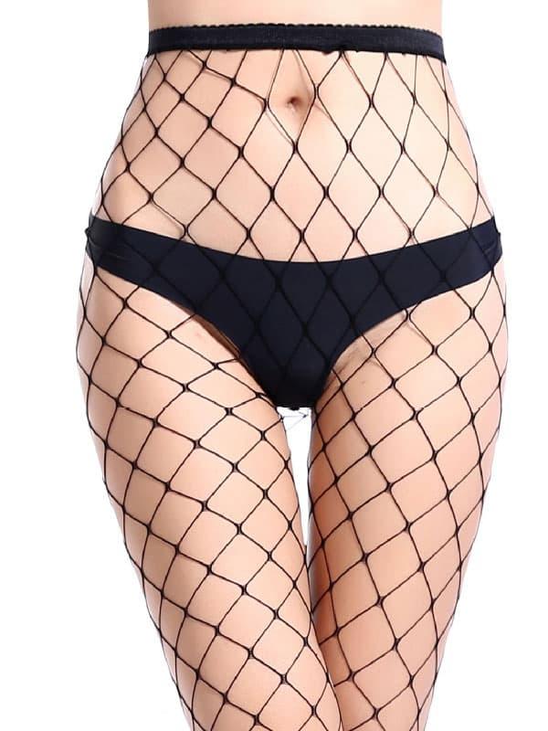 セクシー下着の通販商品:目の大きい・網パンティストッキング・黒・イメージ写真1