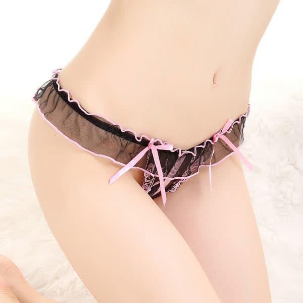 セクシー下着の通販商品:花柄模様・フルオープンクロッチ・Gストリング・ピンク・イメージ写真2