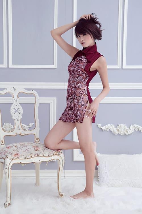 コスプレ・メイド服の通販商品:セクシーシースルーチャイナ・ワインレッド・イメージ写真1