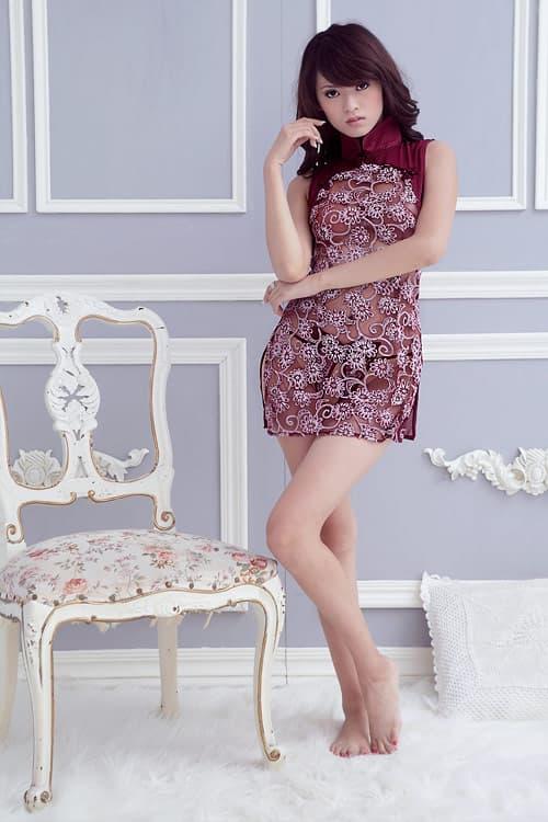 コスプレ・メイド服の通販商品:セクシーシースルーチャイナ・ワインレッド・イメージ写真2