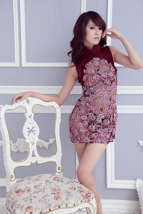 コスプレ・メイド服の通販商品:セクシーシースルーチャイナ・ワインレッド・イメージ写真3