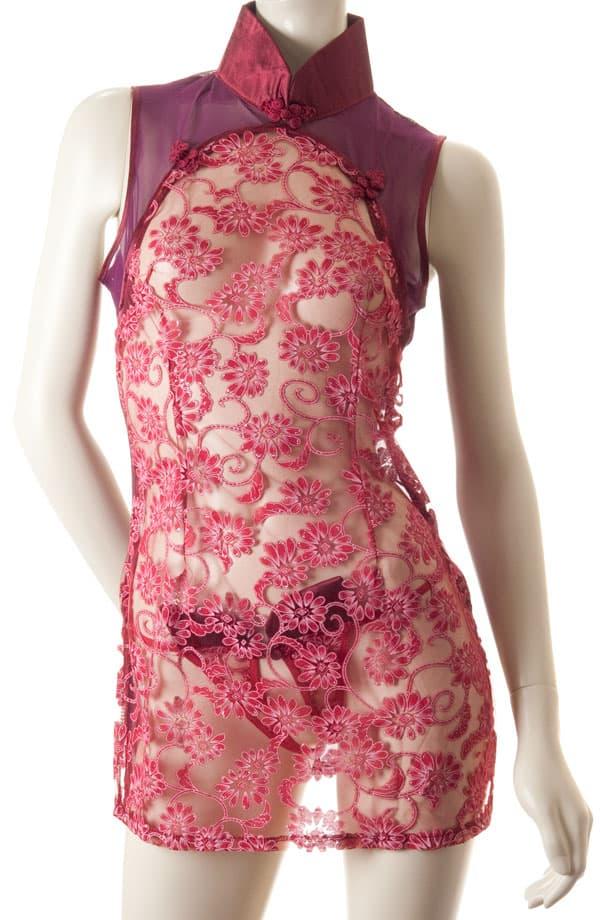コスプレ・メイド服の通販商品:セクシーシースルーチャイナ・ワインレッド・イメージ写真4