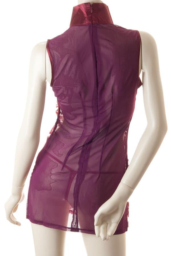 コスプレ・メイド服の通販商品:セクシーシースルーチャイナ・ワインレッド・イメージ写真5