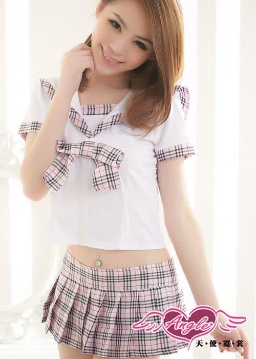 セクシー下着の通販商品:ピンクチェックの超ミニスカート・セーラー服・イメージ写真2