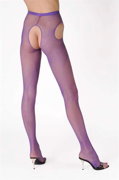 セクシー下着の通販商品:サスペンダー・網パンティストッキング・紫・イメージ写真1