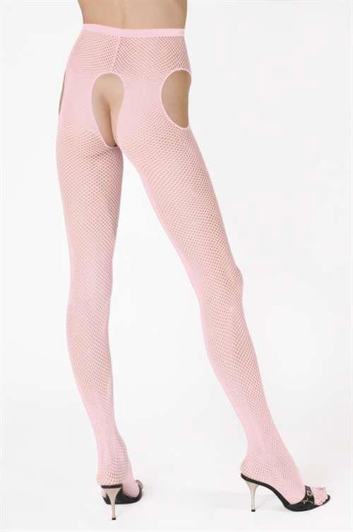 セクシー下着の通販商品:サスペンダー・網パンティストッキング・ピンク・イメージ写真1