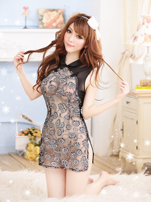 コスプレ・メイド服の通販商品:セクシーシースルーチャイナ・黒・イメージ写真