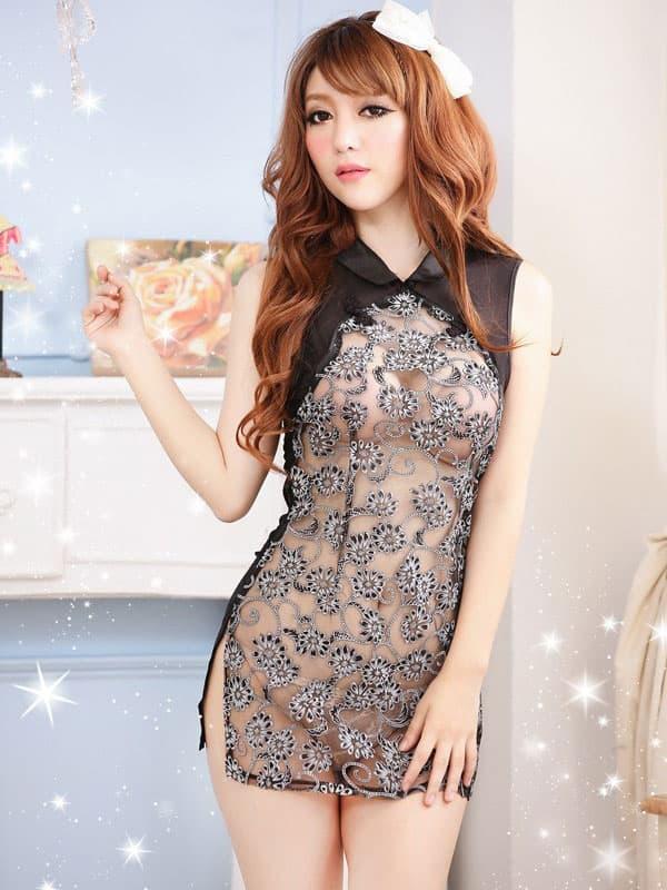 コスプレ・メイド服の通販商品:セクシーシースルーチャイナ・黒・イメージ写真1