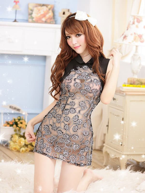 コスプレ・メイド服の通販商品:セクシーシースルーチャイナ・黒・イメージ写真2