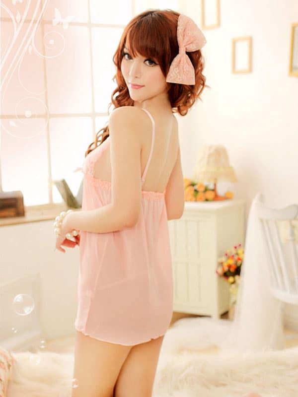 セクシー下着の通販商品:サーモンピンクのかわいいベビードール・イメージ写真3